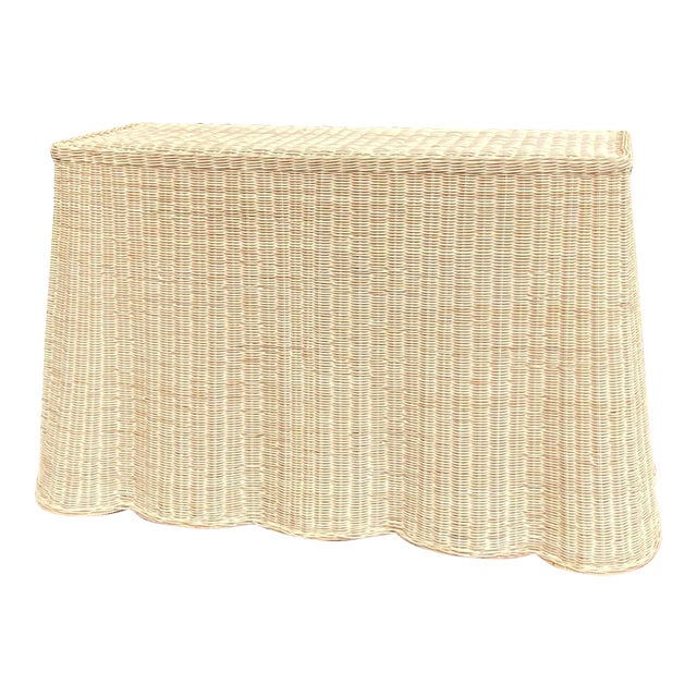 Natural Rattan Trompe l'Oeil Console Table For Sale