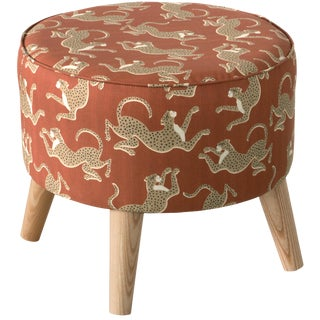 Leopard Run Burnt Orange Ottoman For Sale