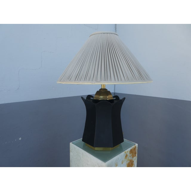 70's Brass and Black Ceramic Decorator Accent Lamp For Sale - Image 10 of 13