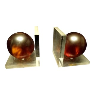 Vintage Lucite Bookends Transparent With Amber Orbs Balls Retro Paperweight Decor For Sale