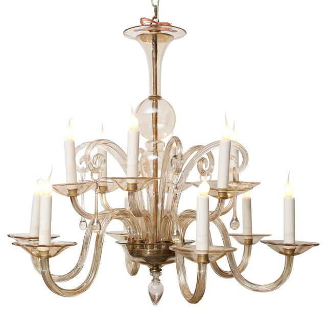 Blown Glass Vintage Italian Glass Chandelier For Sale - Image 7 of 9