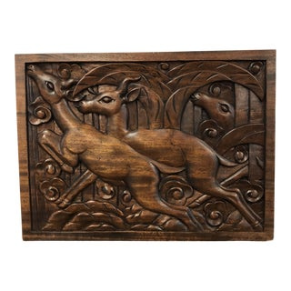 Vintage Wpa Style Hand Carved Wood Plaque For Sale