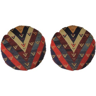 Persian Round Decorative Accent Pillows - a Pair For Sale