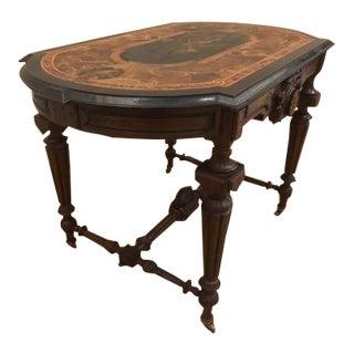 Antique Renaissance Revival Inlaid Center Table For Sale