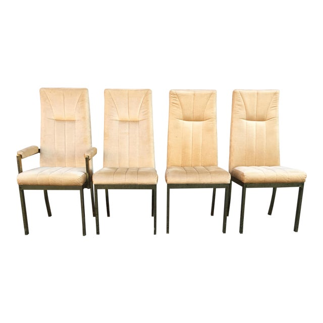 milo baughman style highback chromcraft dining chairs set of 4