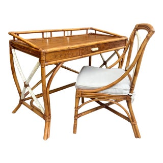 1950s Boho Chic Rattan Writing Desk and Chair - 2 Pieces For Sale