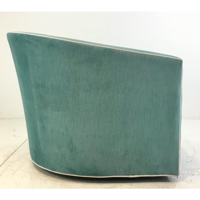 Hickory White Hickory White Modern Turquoise Velvet Swivel Club Chair 5402-015 For Sale - Image 4 of 6