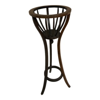 Vintage Basket Style Plant Stand For Sale