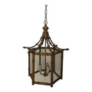 Asian Style Bamboo & Seeded Glass Lantern For Sale