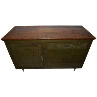 Primitive Counter, Pine Cupboard, Kitchen Island With Four Drawers and Storage For Sale