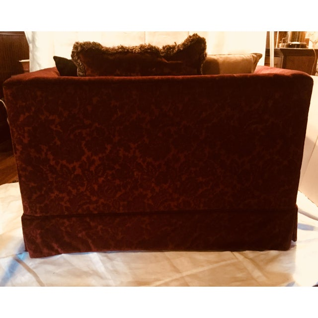 Cotton 1990s Vintage Bordeaux Velvet Loveseat & Chair- A Pair For Sale - Image 7 of 10