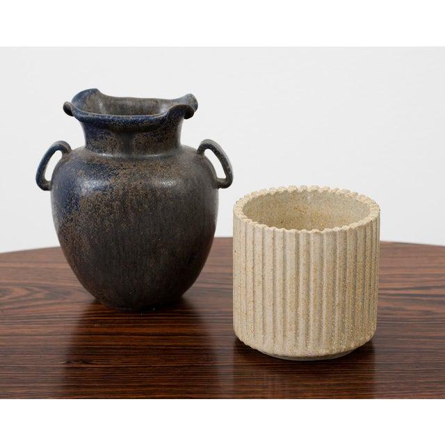 Ceramic Arne Bang Small Ribbed Stoneware Vessel, Denmark 1950s For Sale - Image 7 of 8