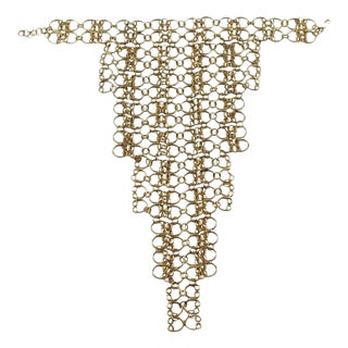 French Gilt Metal Oversized Space Age Drapery Links Bib Necklace For Sale
