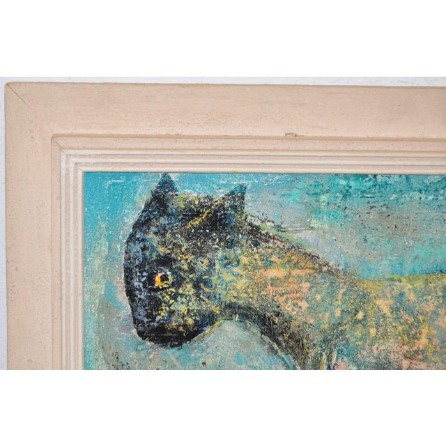 "Charles Campbell (American) ""Reclining Cat"" Original Oil Painting C.1950s For Sale In San Francisco - Image 6 of 9"