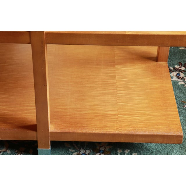 Metal 1960s Baker Classic 3-TierTiger Maple Side Table For Sale - Image 7 of 10