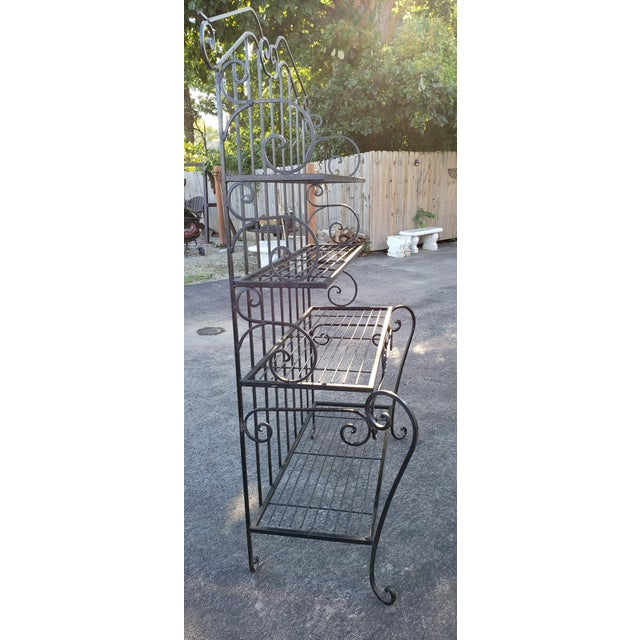 Rustic Mid 20th Century Black Wrought Iron Bakers Rack For Sale - Image 3 of 7