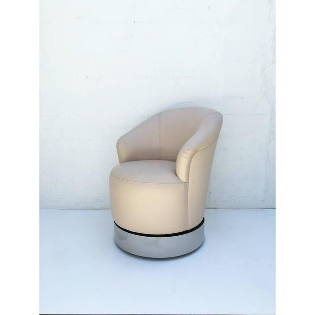 lovely set of four leather and chrome barrel chairs by j robert