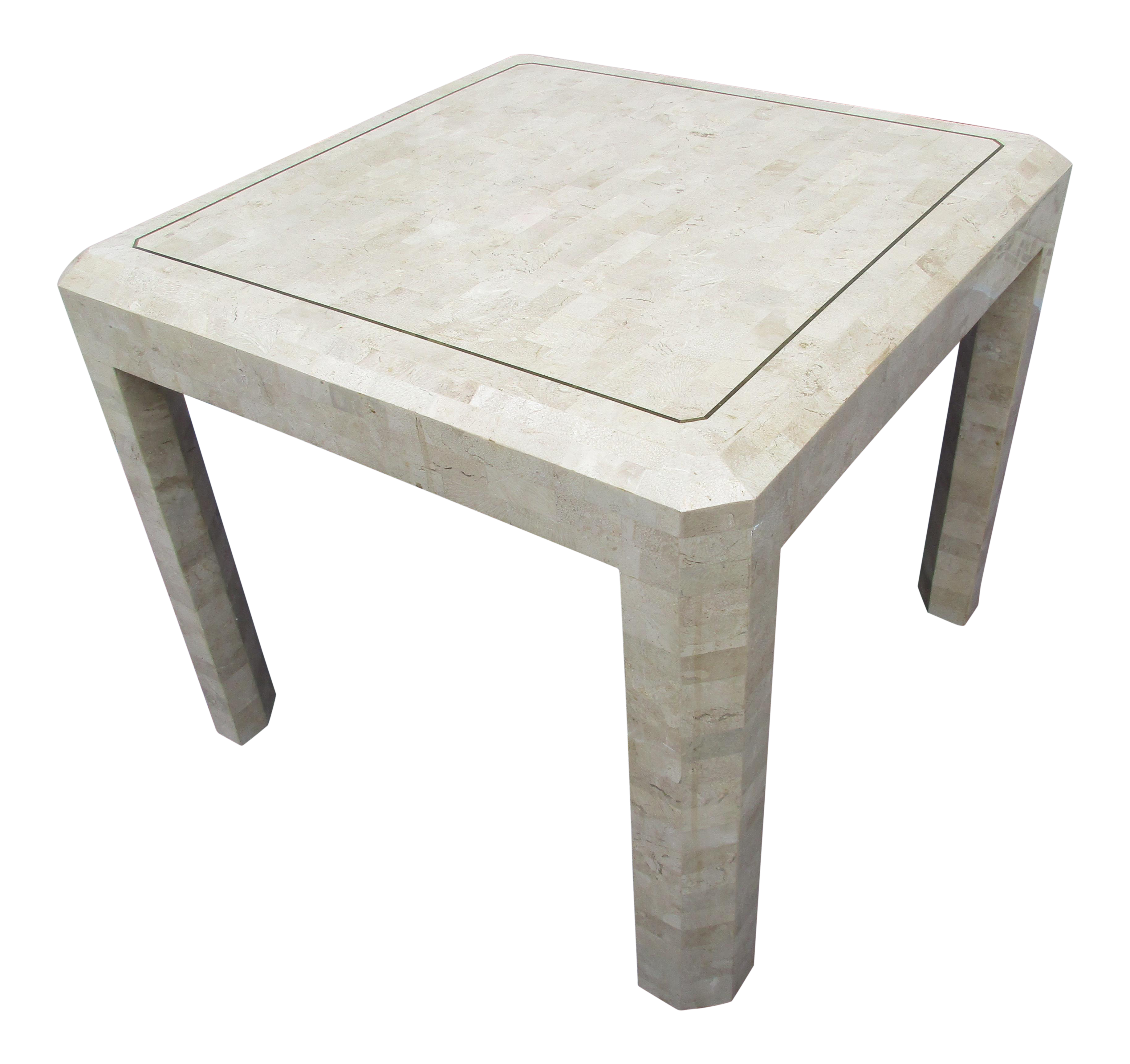 Maitland Smith Tessellated Coral Stone Side Table For Sale