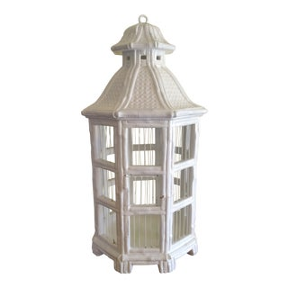 Mid Century Vintage Majolica Style Italian Faux Bamboo Birdcage For Sale