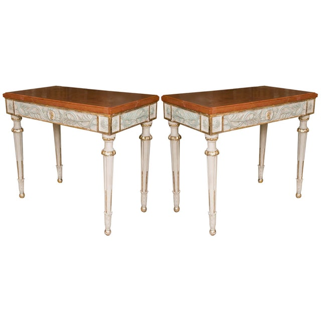 Swedish Paint Decorated Console Tables - A Pair - Image 1 of 8