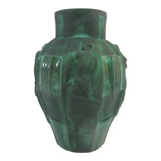 Artur Plevar Czech Bohemian Green Malachite Deco Dancing Lady Nudes Ingrid Vase For Sale