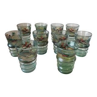 Set of Ten Vintage Hunt Themed Glasses For Sale