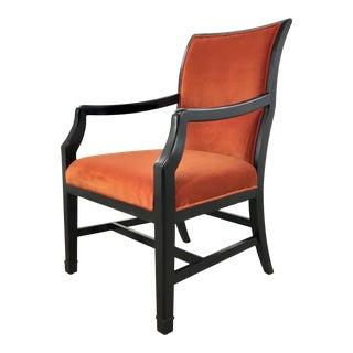 Henredon Modern Orange Velvet Arm Chair/Desk Chair For Sale