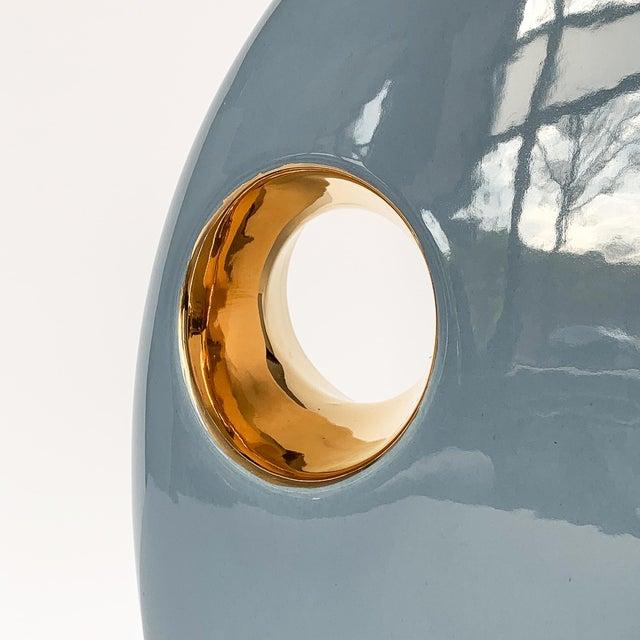 1980s Jaru Blue and Gold Sculptural Ceramic Vase For Sale - Image 5 of 13