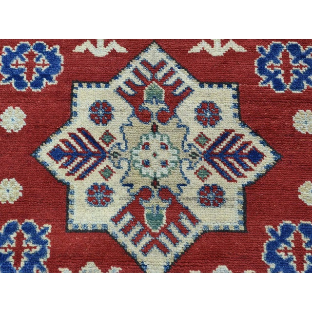 Red Wool Handmade Tribal Design Kazak Runner- 2′8″ × 9′9″ For Sale - Image 8 of 12