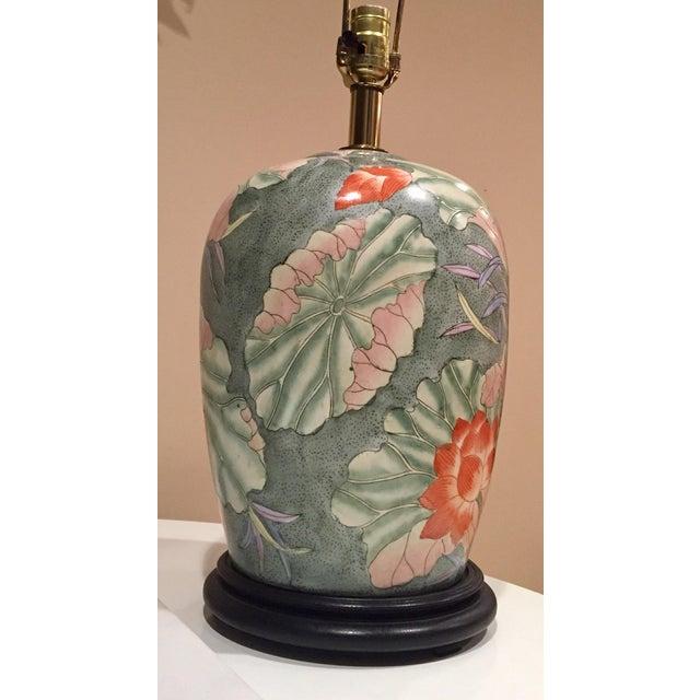 Floral Ginger Jar Lamp With Dark Wood Base - Image 5 of 10