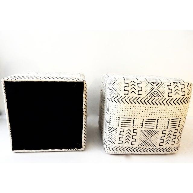 Black & White Mud Cloth Stools - Pair - Image 9 of 9