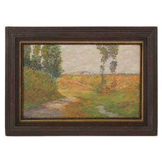 Impressionist Field and Path in Landscape, Oil Painting, Circa 1920s