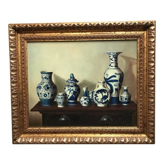 Chinese Vases Oil Painting on Canvas by Chen Yong For Sale