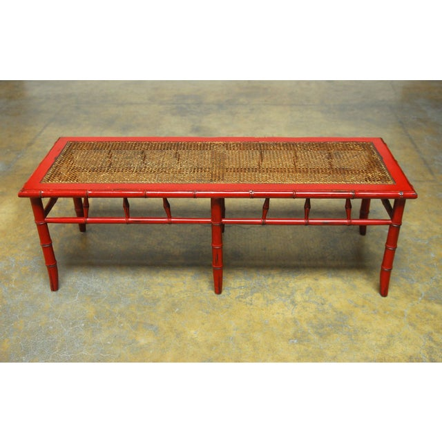 Red Lacquer Faux Bamboo Cane Bench - Image 2 of 5