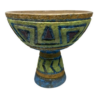 Mid-Century Bitossi Sgraffito Style Pedestal Decorative Bowl For Sale