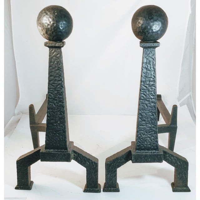 Vintage Bradley Hubbard Arts Crafts Cast Iron Fireplace Hammered Ball Andirons - a Pair For Sale - Image 13 of 13