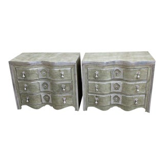 Painted & Silver Gilt Commodes - A Pair For Sale