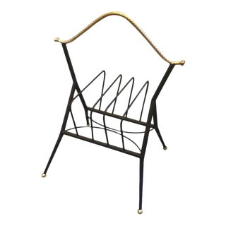 1950s Italian Mid-Century Modern Black Metal and Brass Magazine Rack For Sale