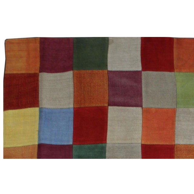 "Modern Antique Hand Knotted Patchwork Kilim - 6'6"" x 8'10"" For Sale - Image 3 of 5"