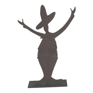 Iron Folk Art Mexican Silhouette Sign on Stand For Sale