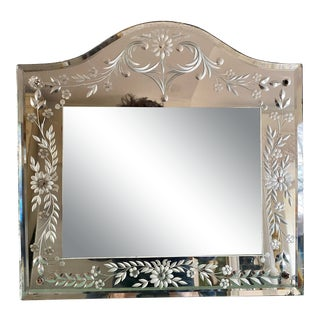 1800's Venetian Etched Mirror Picture Frame For Sale