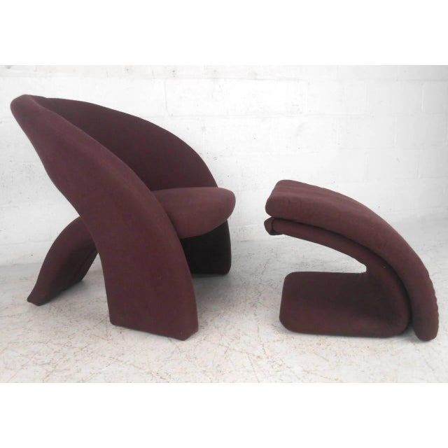 Contemporary Modern Sculptural Lounge Chair with Ottoman - Image 6 of 11