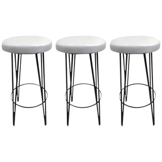 Three Vintage Wrought Iron Stools For Sale