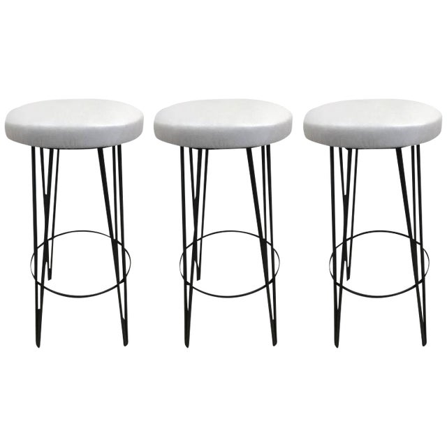 Three Vintage Wrought Iron Stools - Image 1 of 4