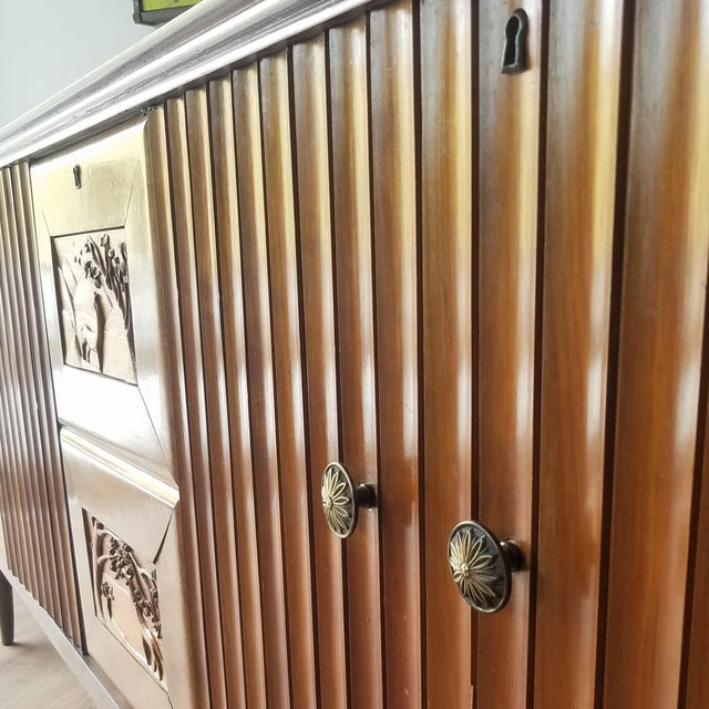 Metal 9' Custom Made Italian Credenza With Hand Carved Reliefs For Sale - Image 7 of 13