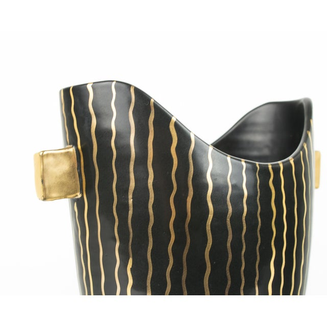 Gold Mid Century Italian Striped Black and Gold Vase For Sale - Image 8 of 13