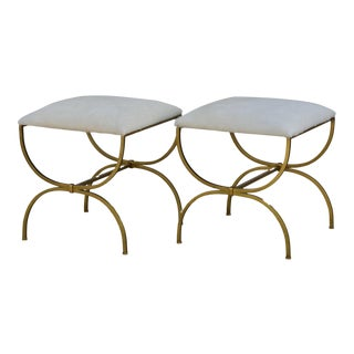 Design Frères Gilt Wrought Iron and Hide Stools- A Pair For Sale