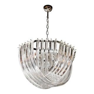 Stunning Modernist Murano Glass Ribbon Chandelier For Sale