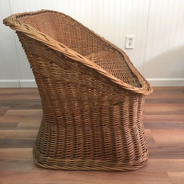 1970s Wicker Tub Settee Natural Rattan Love Seat For Sale - Image 4 of 9