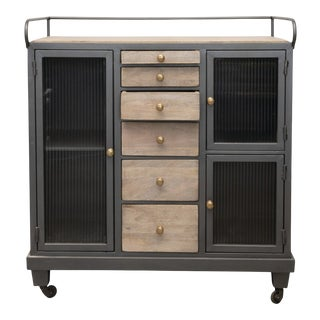 Late 20th Century Mango Wood Sideboard on Casters With 6 Wood Drawers, 3 Glass Doors & 3 Shelves For Sale
